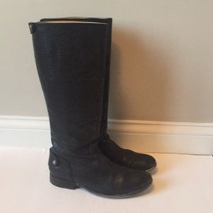 Frye Melissa button back tall black riding boots